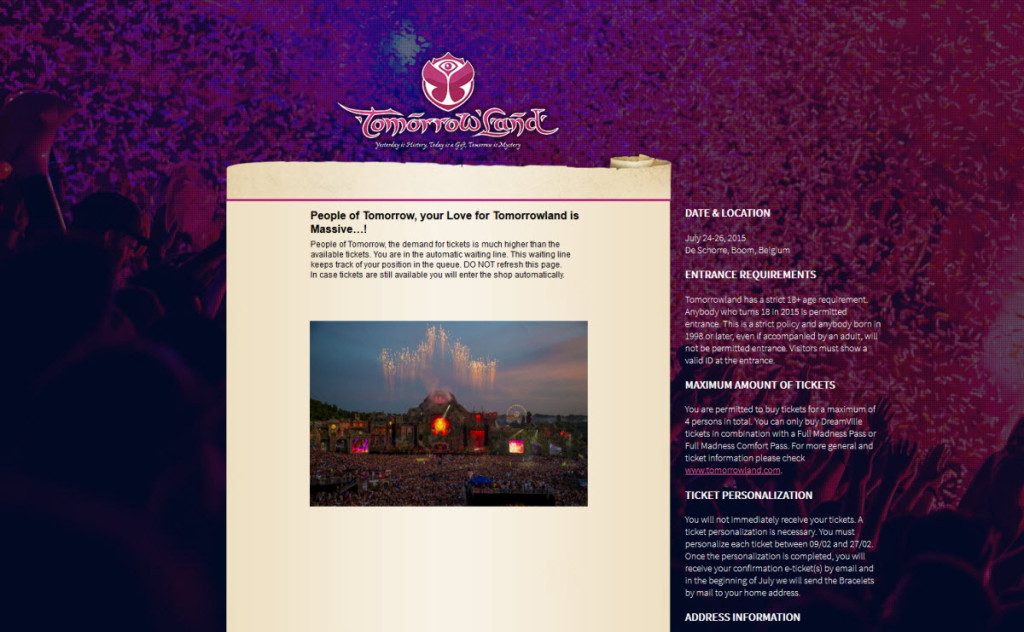 Tomorrowland 2015 queue