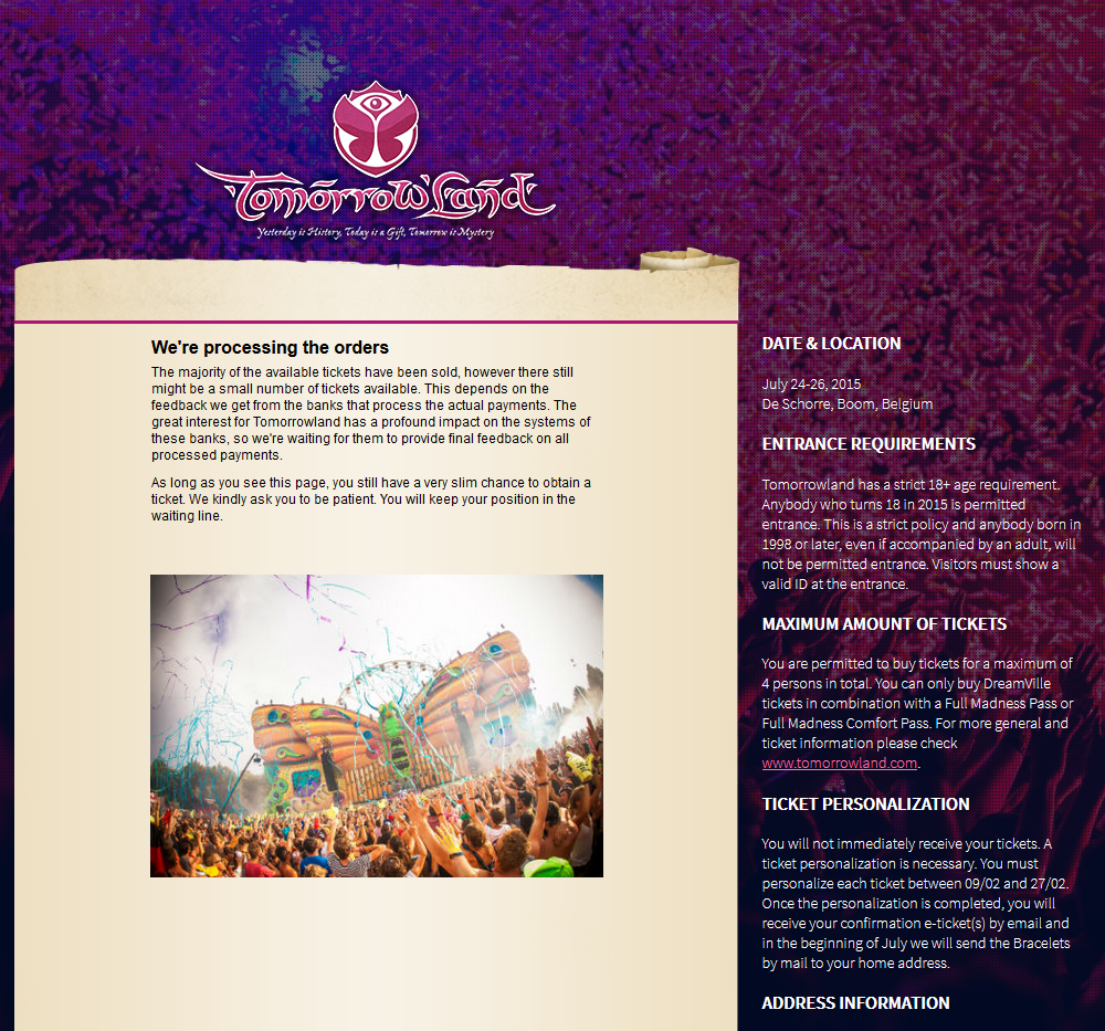 Tomorrowland 2015 sold out